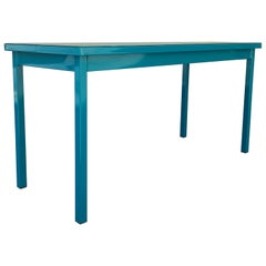 Midcentury Tanker Table in an Uncommon Size, Refinished in Teal