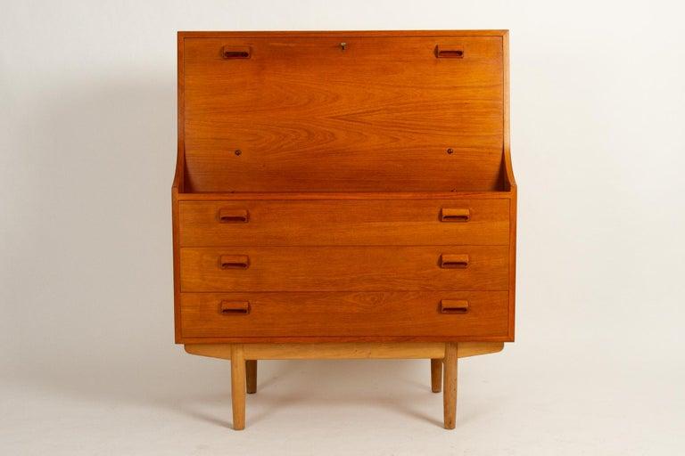 Mid-Century Modern Midcentury Teak and Oak Secretaire by Børge Mogensen 1960s For Sale