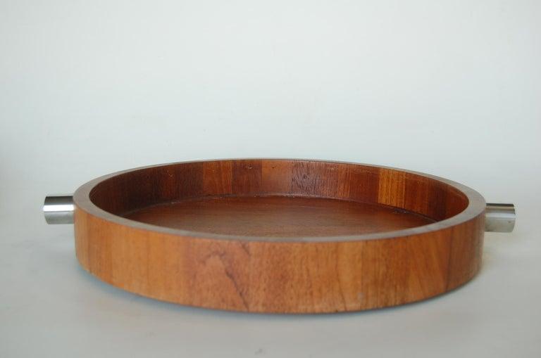 Mid-Century Modern Midcentury Teak  Stainless Steel Salad Serving Bowl Cobblewood Lundtofte Denmark For Sale