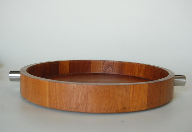 Midcentury Teak  Stainless Steel Salad Serving Bowl Cobblewood Lundtofte Denmark In Excellent Condition For Sale In Van Nuys, CA