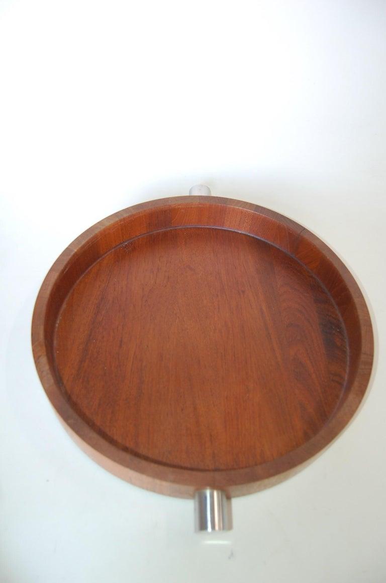 Mid-20th Century Midcentury Teak  Stainless Steel Salad Serving Bowl Cobblewood Lundtofte Denmark For Sale