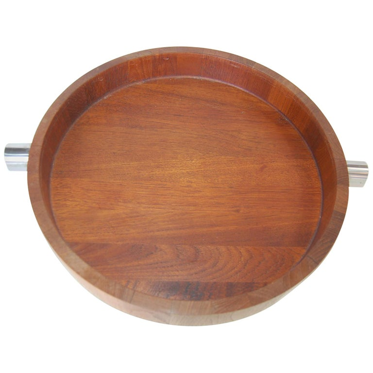 Midcentury Teak  Stainless Steel Salad Serving Bowl Cobblewood Lundtofte Denmark For Sale