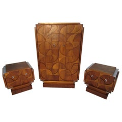 Midcentury Teak Armoire and Nightstand Set