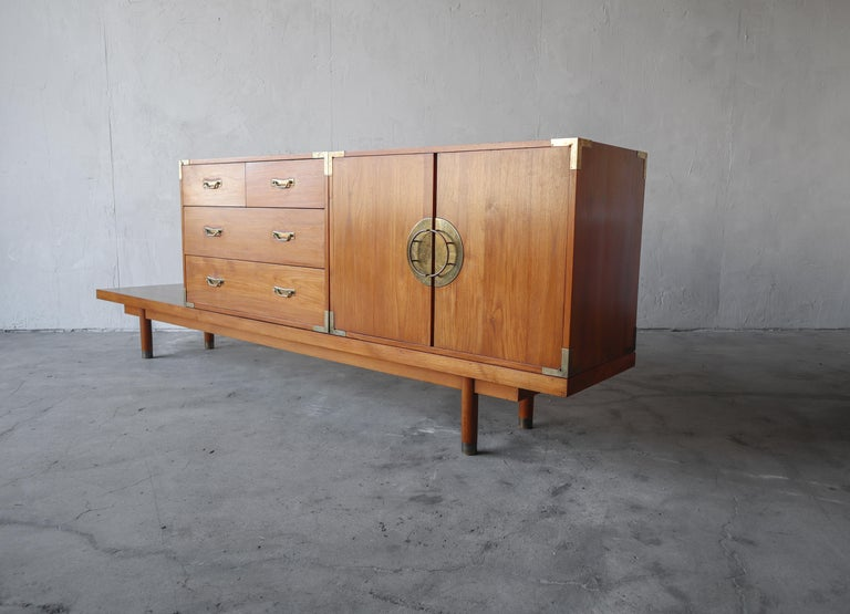 Mid-Century Modern Mid Century Teak Bench with Cabinets For Sale