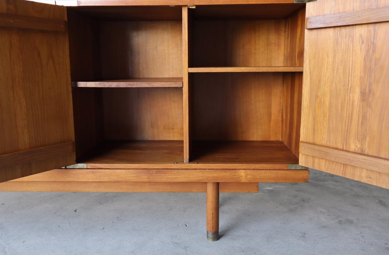 Brass Mid Century Teak Bench with Cabinets For Sale