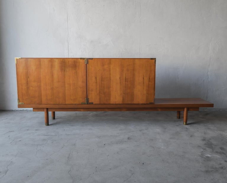 Mid Century Teak Bench with Cabinets For Sale 1