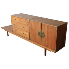 Mid Century Teak Bench with Cabinets