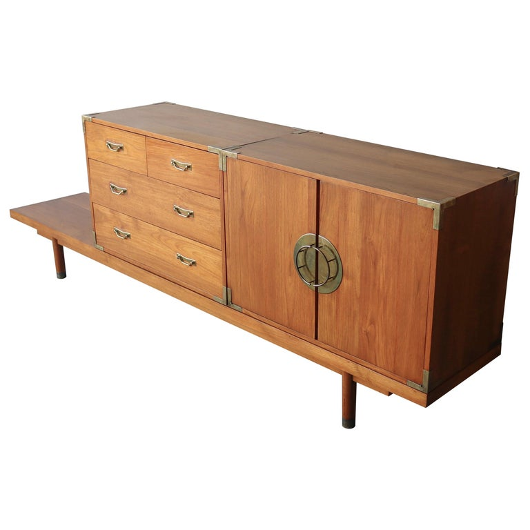 Mid Century Teak Bench with Cabinets For Sale