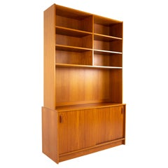 Mid Century Teak Book Case Buffet and Hutch