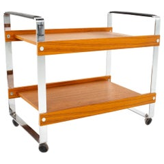 Mid Century Teak Chrome and Leather Bar Serving Cart