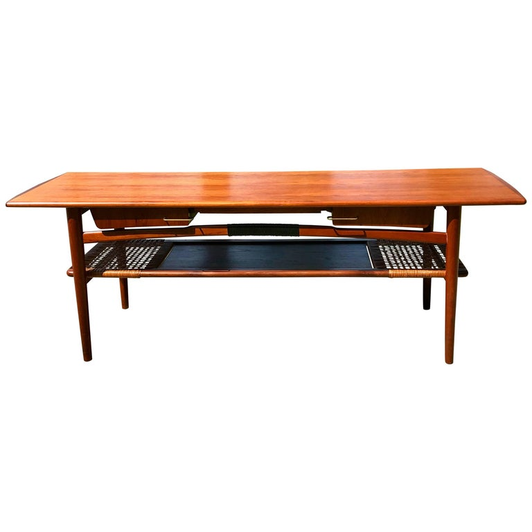 Mid Century Teak Coffee Table, Four Side Drawers, Cane