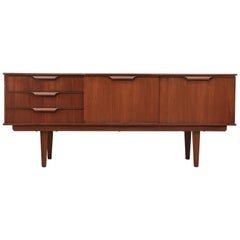 Midcentury Teak Credenza with Carved Hand Pulls