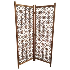 Midcentury Teak Cut-Out Room Divider / Screen