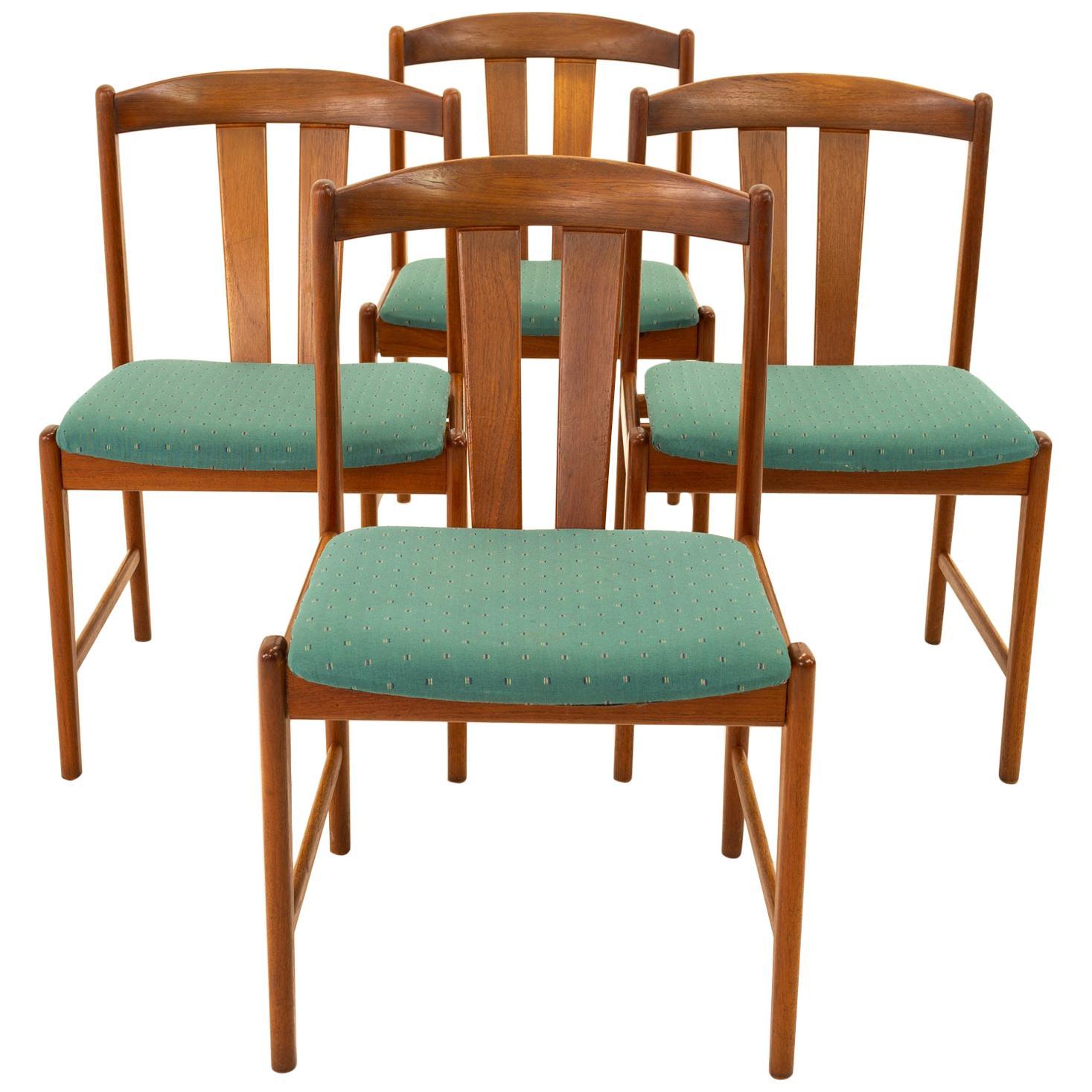 Mid Century Teak Dining Chairs, Set of 4