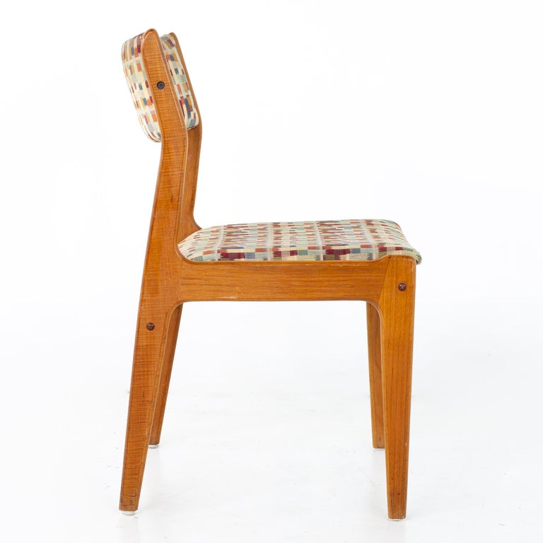 Upholstery Mid Century Teak Dining Chairs, Set of 6 For Sale