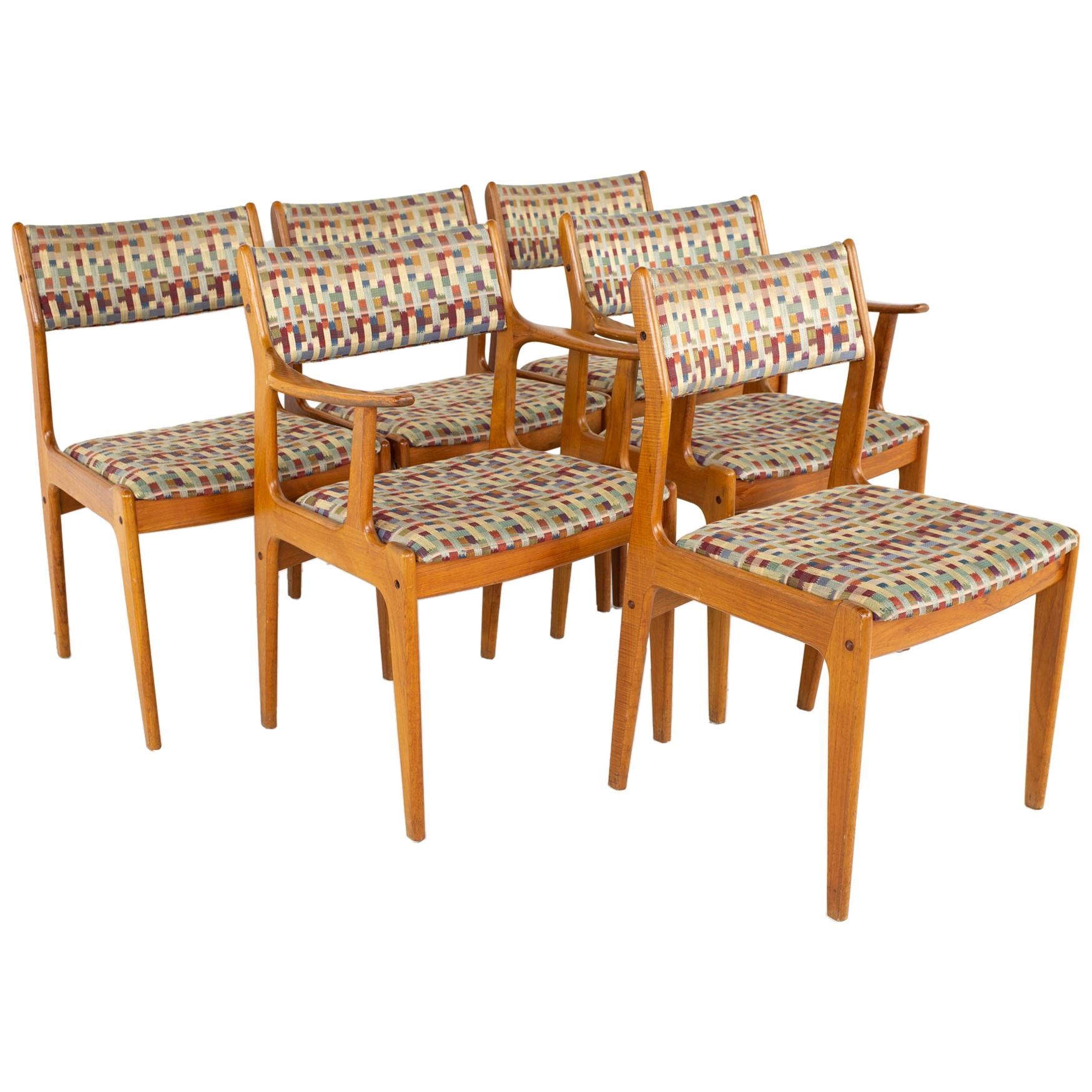 Mid Century Teak Dining Chairs, Set of 6