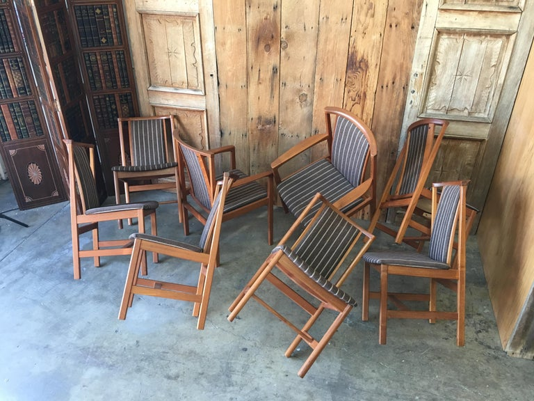 Mid Century Teak Dining Chairs Set of Eight For Sale 12