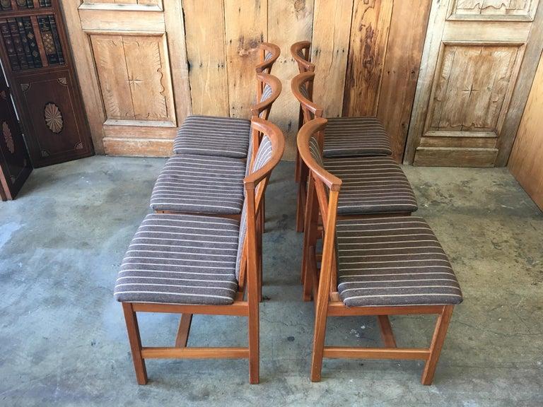 Scandinavian Modern Mid Century Teak Dining Chairs Set of Eight For Sale
