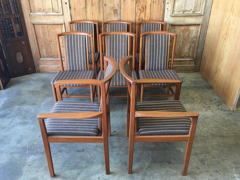 20th Century Mid Century Teak Dining Chairs Set of Eight For Sale