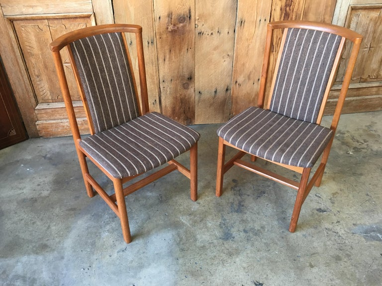 Mid Century Teak Dining Chairs Set of Eight For Sale 3