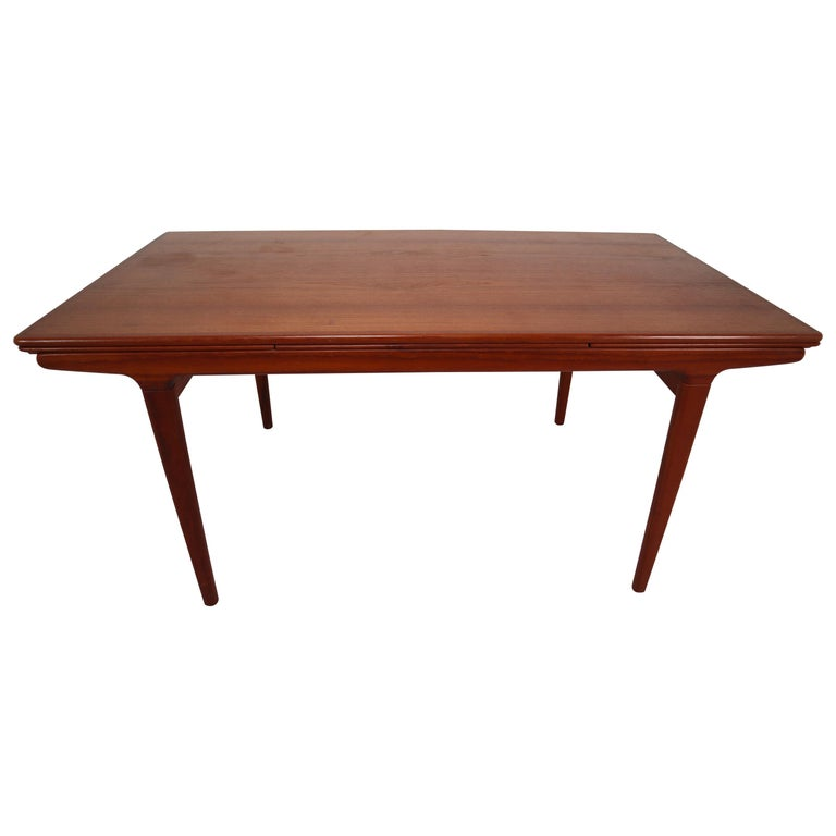 Midcentury Teak Dining Table with Extensions by Niels Møller, Denmark, 1950s For Sale