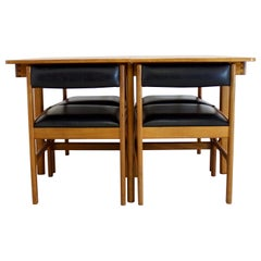 Midcentury Teak Extendable Dining Table with 4 Chairs from McIntosh, 1960s