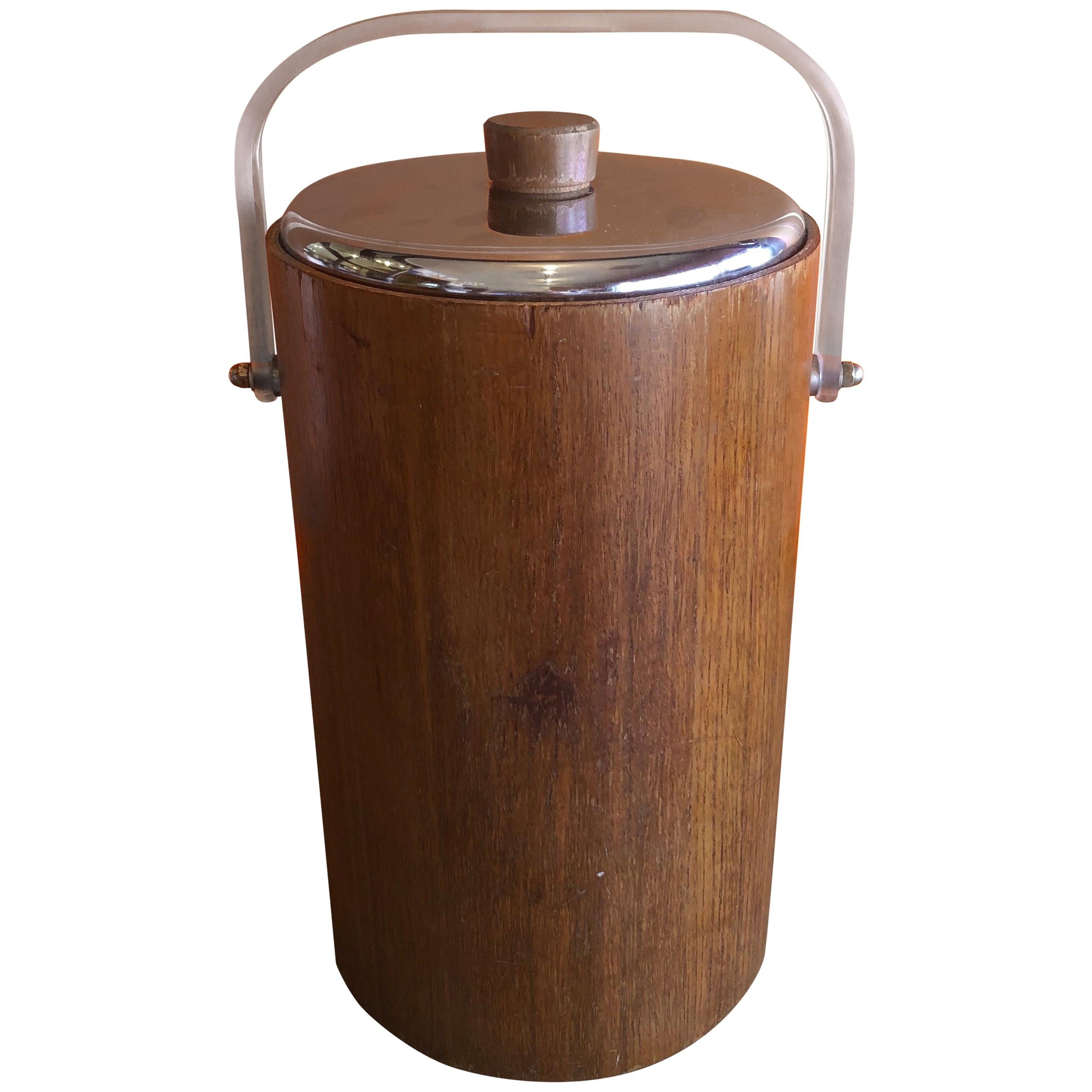 Midcentury Teak Ice Bucket with Thermos Glass Liner