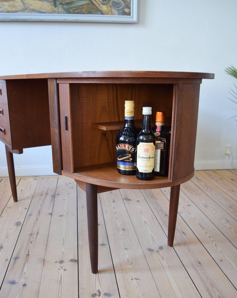 Danish Midcentury Teak Kidney Shaped Desk, 1950s For Sale