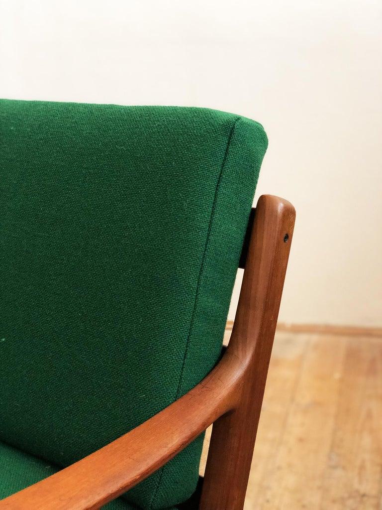 Wool Mid Century Teak Lounge Chair, Senator Series, Ole Wanscher for Poul Jeppesen For Sale