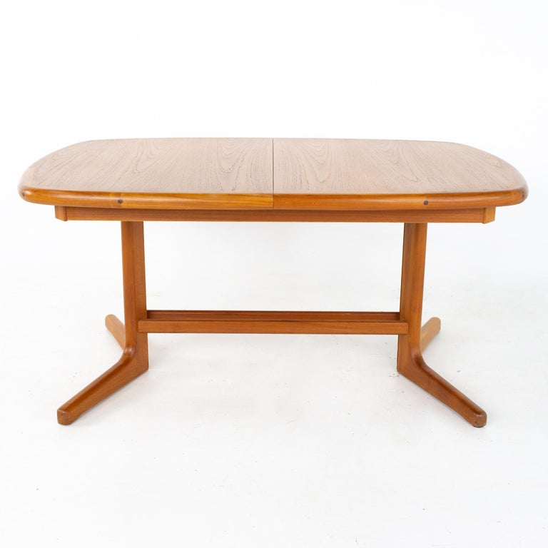 Mid-Century Modern Mid Century Teak Oval Expanding Dining Table