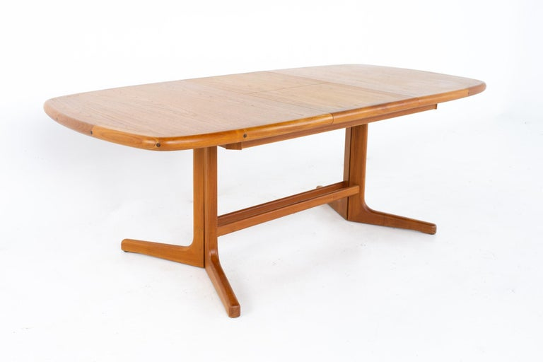 Danish Mid Century Teak Oval Expanding Dining Table