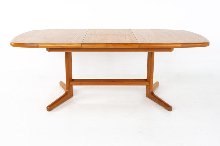 Late 20th Century Mid Century Teak Oval Expanding Dining Table
