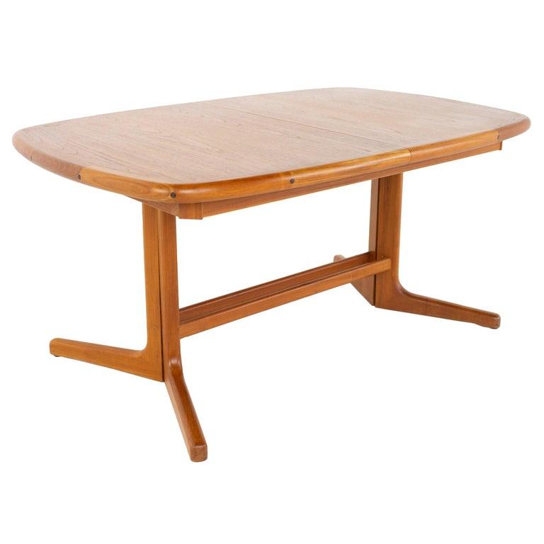 Mid Century Teak Oval Expanding Dining Table