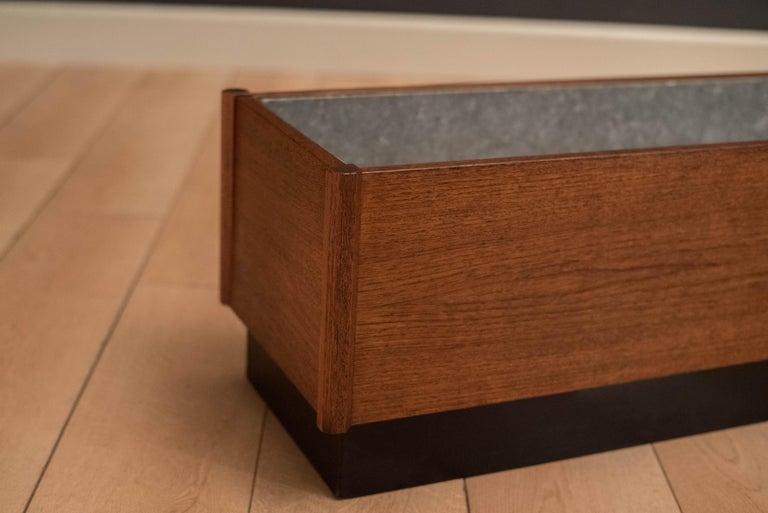 Galvanized Mid Century Teak Planter Box For Sale