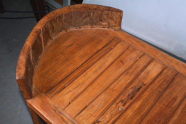 Hand-Crafted Midcentury Teak Sculptural Bench For Sale