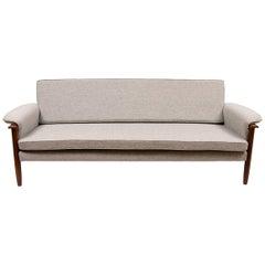 Midcentury Teak Sofa Bed with Kvadrat Hallingdal Upholstery