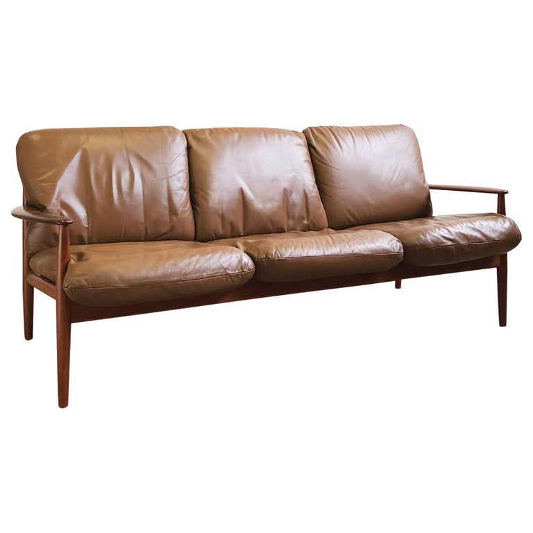 Midcentury Teak Sofa with Leather Cushions by Grete Jalk for Cado