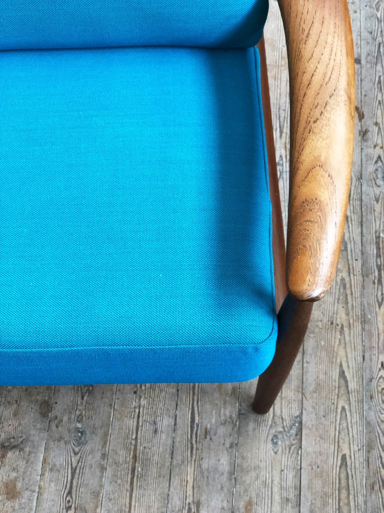 Midcentury Teak Sofa with Turquoise Upholstery by Grete Jalk for France & Son  For Sale 5