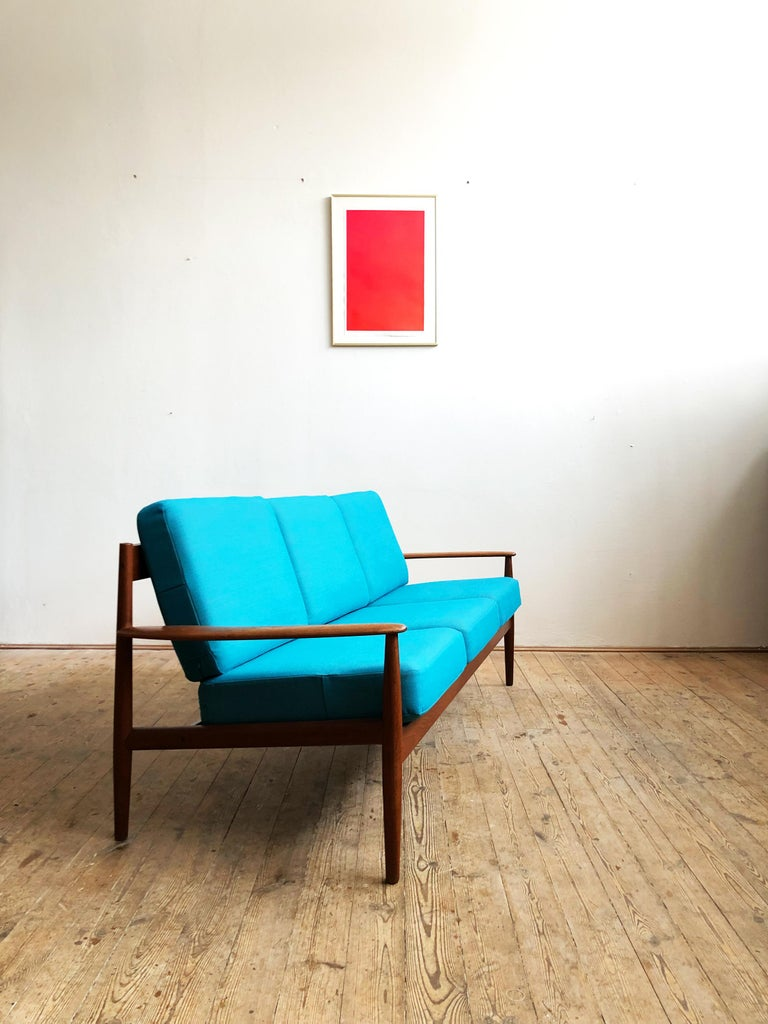 Mid-Century Modern Midcentury Teak Sofa with Turquoise Upholstery by Grete Jalk for France & Son  For Sale