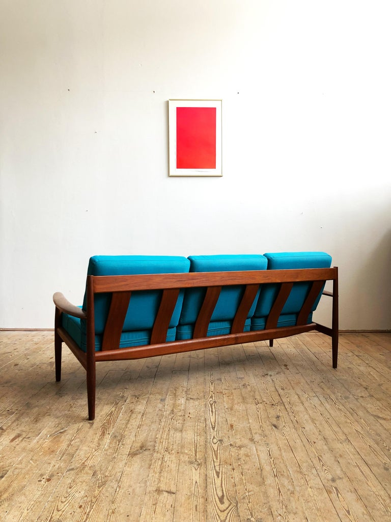 Danish Midcentury Teak Sofa with Turquoise Upholstery by Grete Jalk for France & Son  For Sale