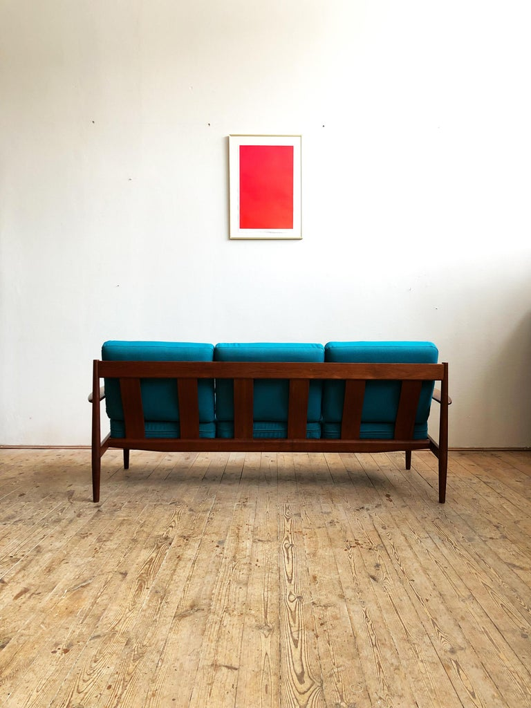 Oiled Midcentury Teak Sofa with Turquoise Upholstery by Grete Jalk for France & Son  For Sale