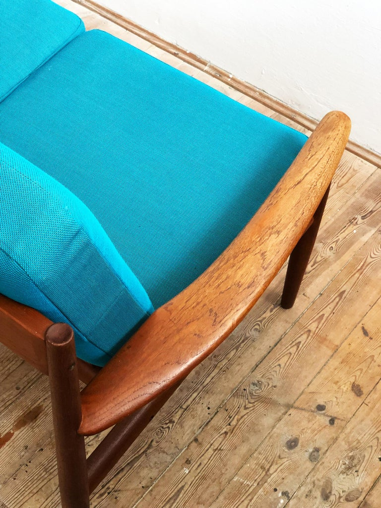 20th Century Midcentury Teak Sofa with Turquoise Upholstery by Grete Jalk for France & Son  For Sale
