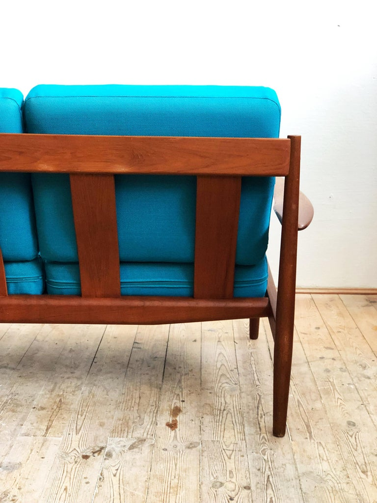 Wool Midcentury Teak Sofa with Turquoise Upholstery by Grete Jalk for France & Son  For Sale