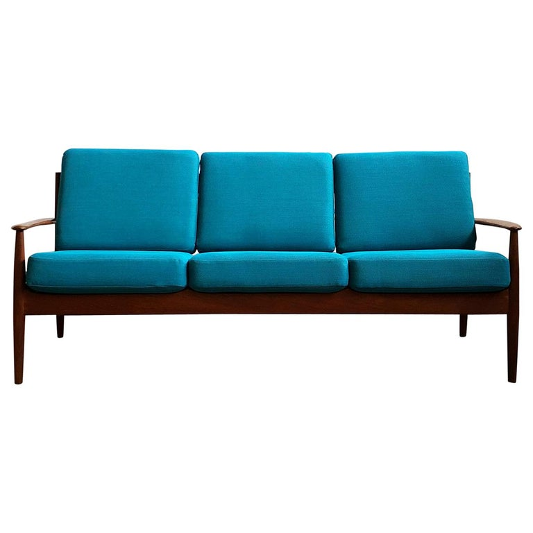 Midcentury Teak Sofa with Turquoise Upholstery by Grete Jalk for France & Son  For Sale