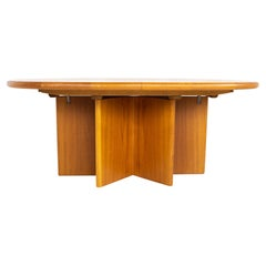 Mid Century Teak Starburst Pedestal Expanding Hidden Leaf Dining Table