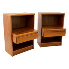 Mid Century Teak Step Nightstands - Pair