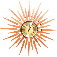 Midcentury Teak Sunburst or Starburst Clock by Anstey & Wilson