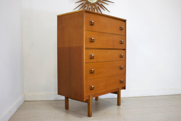 Midcentury Teak Tallboy Chest Of Drawers From Symbol 1960s