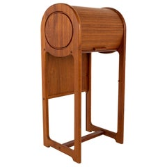 Mid Century Teak Tambour Door Foyer Entry Console Table