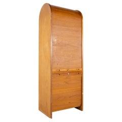 Mid Century Teak Tambour Door Upright Storage Credenza
